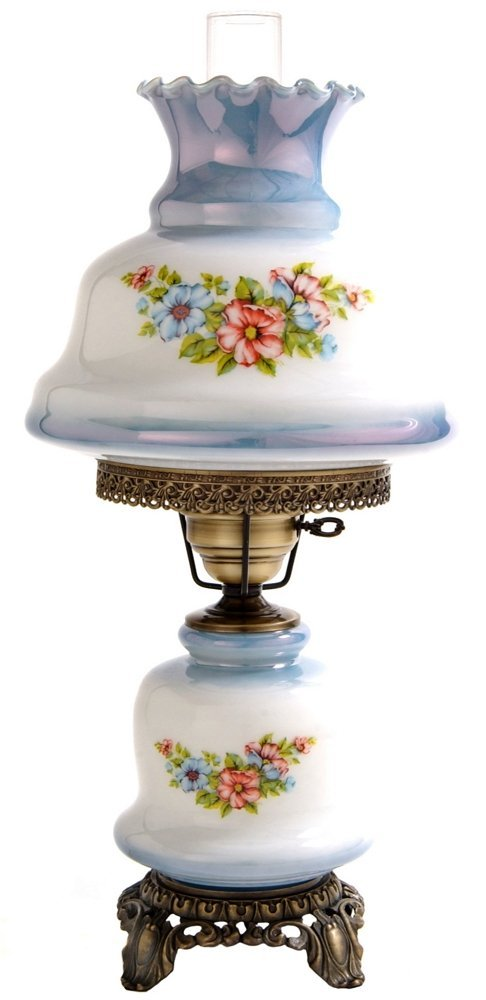 23 in. Rhombus Hurricane Table Lamp in Floral w 12 in. Shade by Summit Lamp