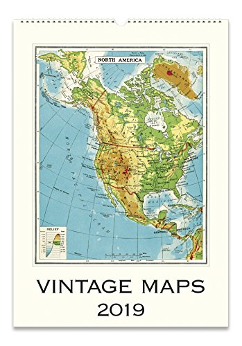Cavallini Papers & Co. 2019 Vintage Maps Wall Calendar, Multicolor
