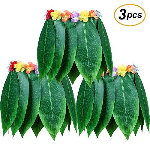 Hula Halloween Skirt (LesDay Ti Leaf Hula Skirt 3pcs Hawaiian Leaf Skirts Luau Party Supplies Luau Costume Adult Size Fits Men & Women)