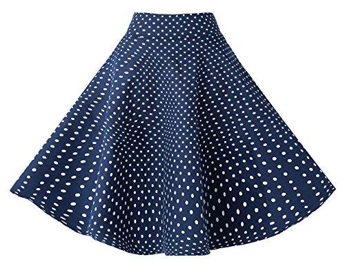 BI.TENCON Women's Vintage Blue White Polka Dot High Waist Swing Circle Summer Midi Skirt XL (Polka Dot Circle Full)