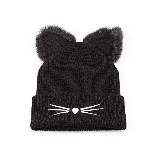 NW 1776 Women's Hat Cat Ear Crochet Braided Knit Caps Warm Snowboarding Winter (Black) (Knit Fashion Womens Hat)
