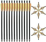 """D&Q 20 inch Fiberglass Crossbow Bolts Crossbolt Arrows with 3"""" Vanes and 12pcs 3 Blades Archery Arrow"""