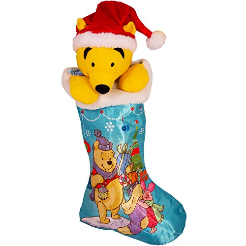 Pooh 18 Satin Stocking Fully Printed with Plush Head Hanger -