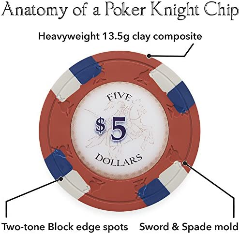 Heavyweight 13.5-Gram Clay Composite Claysmith Gaming Pack of 50 Poker Knights Poker Chips