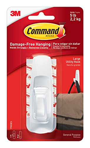 051131651425 - Command Large Utility Hook, White, 1-Hook, 2-Strips (17003ES) carousel main 0