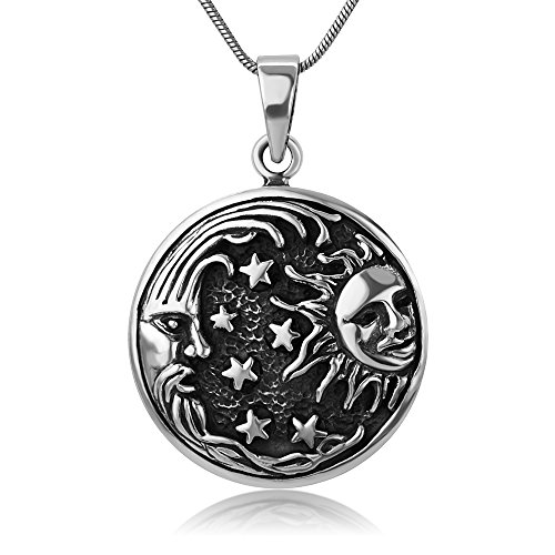 Chuvora 925 Oxidized Sterling Silver Moon Sun Stars Universe Celestial Round Pendant Necklace, 18 inches