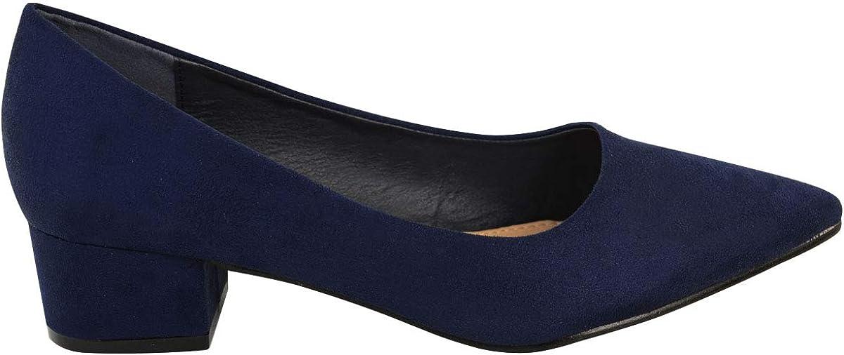 Fashion Thirsty Womens Ladies Black Low Block Heel Court Shoes Smart Office Work Wedding Comfort by Heelberry