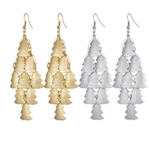 Unijew 2 Pair Christmas Tree Long Large Light Earrings Dangle Drop Golden and Frosted Silver White Earrings for Women Girls Gifts (Earrings Christmas Silver Dangle Tree)