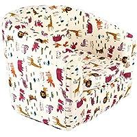 Emall Life Kid's Armchair Children's Roundy Chair Cartoon Sofa Wooden Frame (Animals)