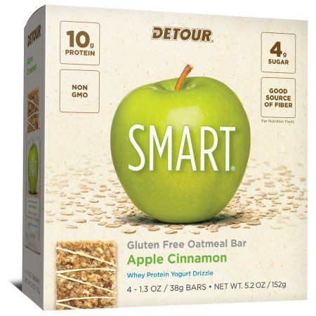 Detour SMART Apple Cinnamon Whole Grain Oatmeal Protein Nutrition Snack Bar, 1.3 oz, 4 count (Pack of 1) - Detour Oatmeal Whole Grain