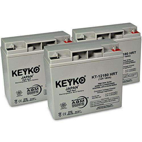 Cruzin Cooler 500W & 750W 12V 18Ah / Real 20.0Ah AGM - SLA Sealed Lead Acid HIGH RATE Deep Cycle Battery for UPS Wheelchair Scooter and Mobility - Nut & Bolt L1 - 3 Pack by KEYKO