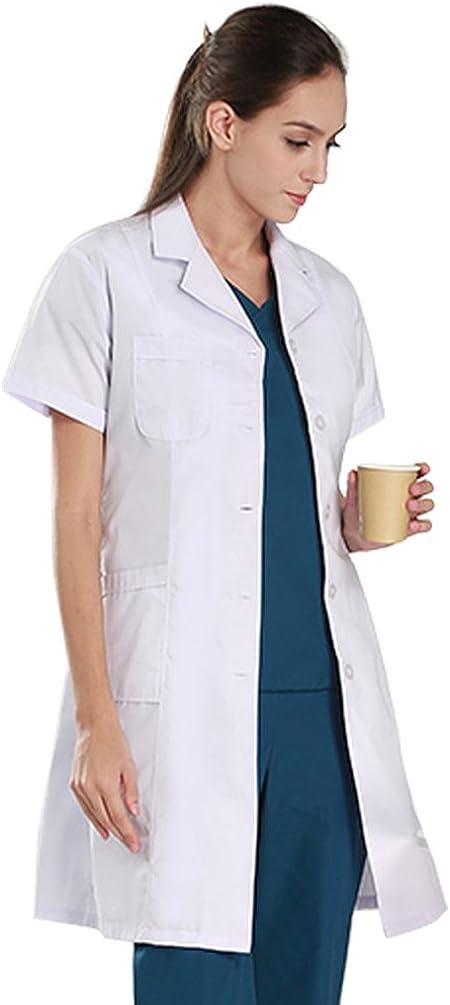 Unisex Lab Coat Scrubs Adult Uniform Nideen Womens White Lab Coats Doctor Workwear