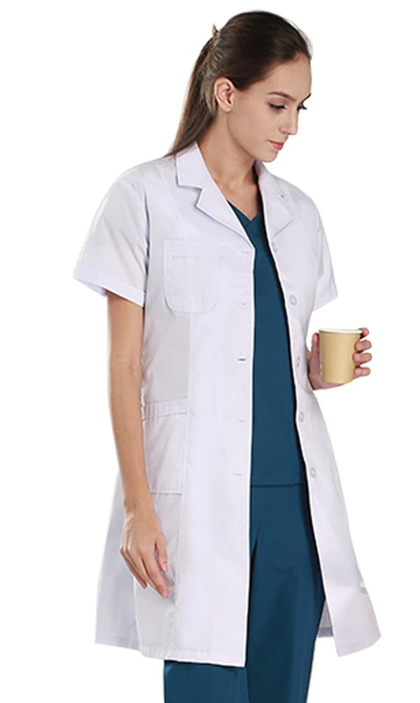 Nideen Women's White Lab Coats Doctor Workwear - Unisex Lab Coat Scrubs Adult Uniform Short Sleeves S
