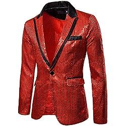 Sequin Suit Jacket,ONLT TOP Men's Fashion Suit Jacket Blazer Single Button Sequin Luxury Weddings Party Tuxedo Red
