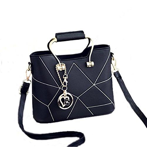Fashion Europe New Women Faux Leather Shoulder Bags Elegant Lady Crossbody Bags New Handbag Black