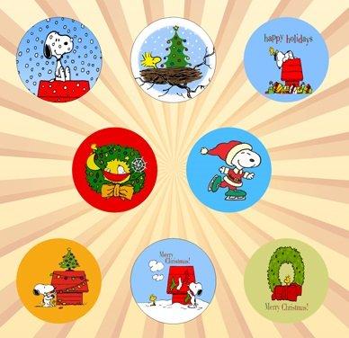 Peanuts Christmas Set of 8 - 1 Inch Pinback -