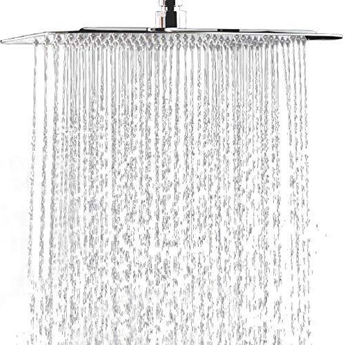 "Rain Shower Head 8"" High Pressure Waterfall - 100% Stainless Steel - Rainfall Chrome Showerhead"
