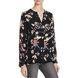 Joie Womens Devitri Silk Button-Down Blouse Black S