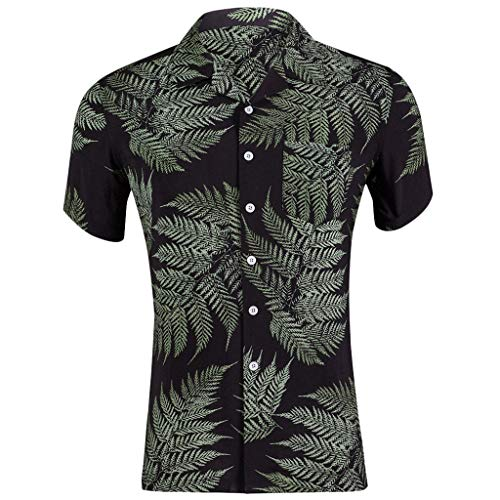 Shirts Big & Tall Hawaiian Print Short Sleeve Camp Slim Loose Printed Pocket Turn-Down Collar T-Shirt Tops Men (XXL,10- Black) -