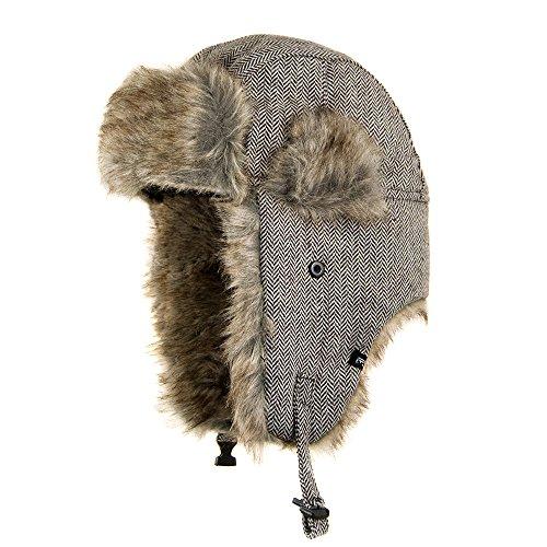 Jaxon Herringbone Trapper Hat (S/M, Brown)