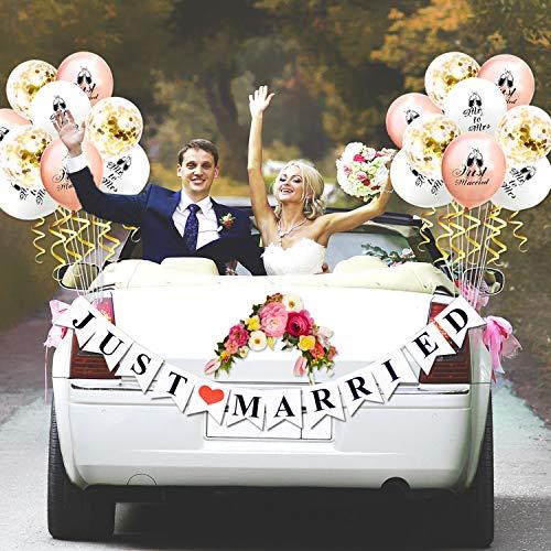 Bachelorette Car Decorations (KeaParty Just Married Car Decorations, Just Married Banner Sign and Balloons, Wedding Bridal Shower Bachelorette Party Decorations, Photo Props, Car)