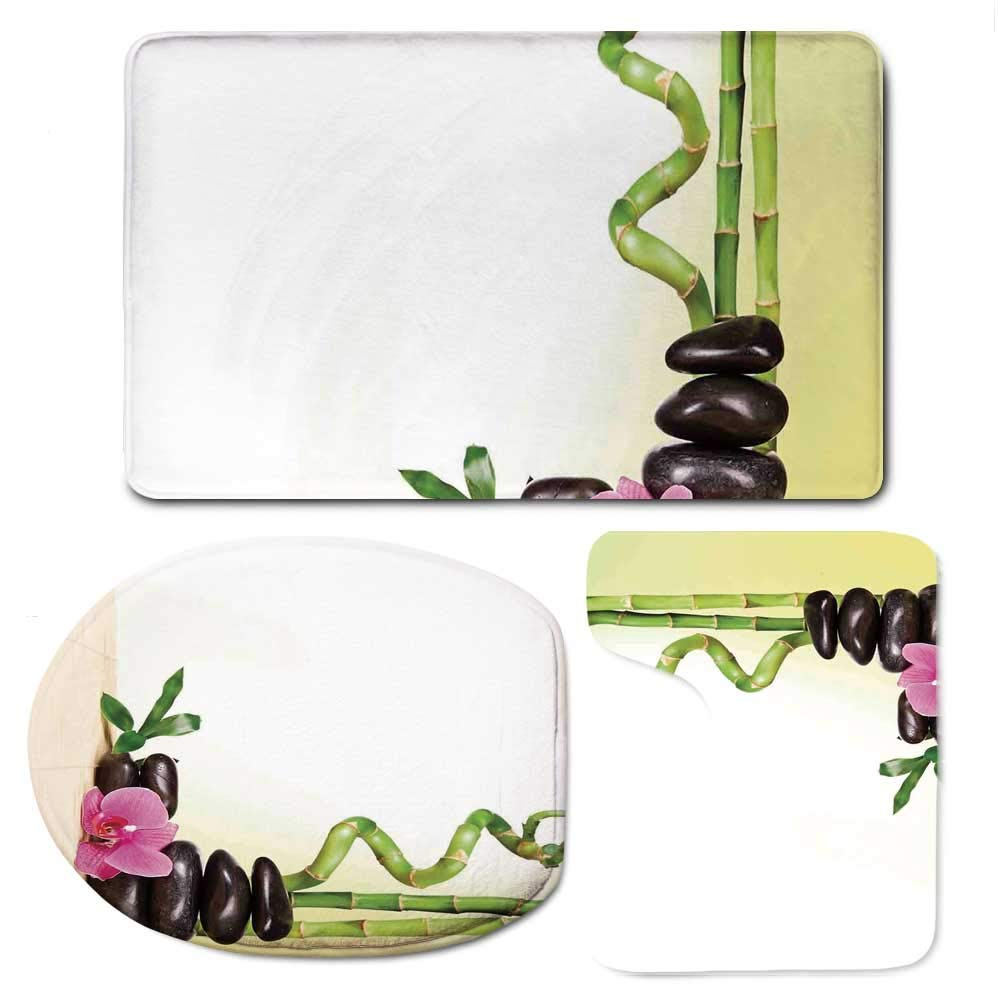 Spa Decor Durable Bathroom 3 Piece Mat Set,Spa Still Calm Life Theme with Relax Symbol Bamboo Sprouts and Rocks Asian Meditative Zen Concept for Bathroom,F:20'' W x31'' H,O:14'' Wx18'' H,U:20'' Wx16'' H