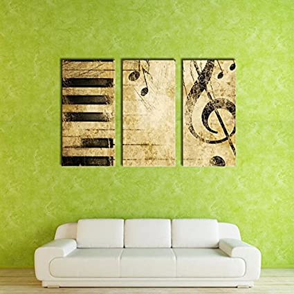 Amazon.com: YXT ARTS 3 Panel Classical Piano Music Notes Painting ...