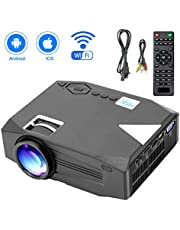 Mini Projector,2800 Lux LED Wireless Projector Supports Full HD 1080P Home Theatre Projector for Android iPhone iPad Video Game,TV Box PS4,More Than 30,000 Hours LED Lamp Life-Fustar