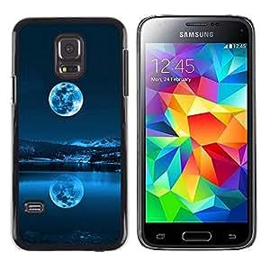 Caucho caso de Shell duro de la cubierta de accesorios de protección BY RAYDREAMMM - Samsung Galaxy S5 Mini, SM-G800 - AZUL LUNA LLENA
