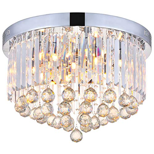 Round Modern Chandelier (Modern Clear Crystal Raindrop Round Chandelier Lighting Flush Mount LED Ceiling Light Fixture Lamp for Dining Room Bathroom Bedroom Livingroom 9 G9 Bulbs Required H10 in X D20 in)