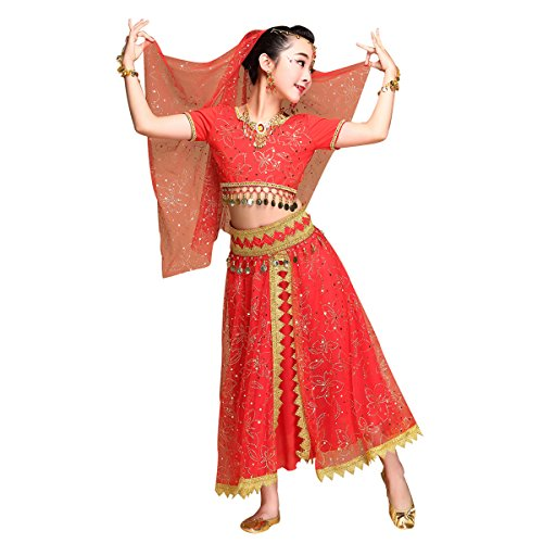 Kid's Belly Dance Chiffon Bollywood Costume Indian Dance Outfit Halloween Costumes with Coins 5 Pieces Sets(Red, Medium)