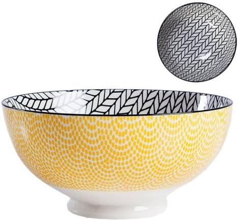 Torre /& Tagus Kiri Porcelain 8 Large Yellow with Black Trim Bowl