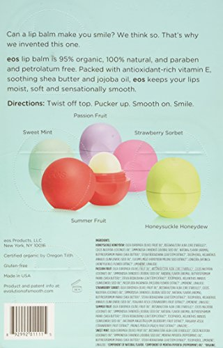 Eos Organic Smooth Sphere Lip Balm Summer Fruit, Sweet Mint, Strawberry Sorbet, Passion Fruit, Honeydew (5 Pack)