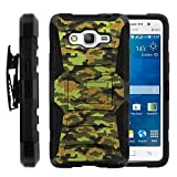 Galaxy Grand Prime Case, Galaxy Grand Prime Holster, Two Layer Hybrid Armor Hard Cover with Built in Kickstand for Samsung Galaxy Grand Prime SM-G530H, SM-G530F (Cricket) from MINITURTLE | Includes Screen Protector - Green Digital Camouflage