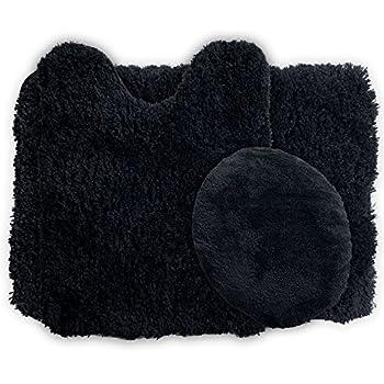 Lavish Home 3-Piece Super Plush Non-Slip Bath Mat Rug Set, Black