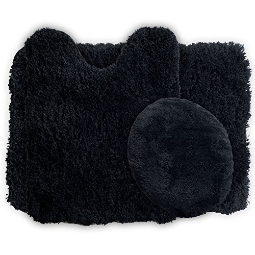 Lavish Home 3-Piece Super Plush Non-Slip Bath Mat Rug Set, Black ()