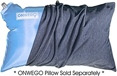 ONWEGO Pillowcase for Inflatable Travel and Camping Pillows, 100% Cotton, Handcrafted, Fits 12in x 20in Pillows