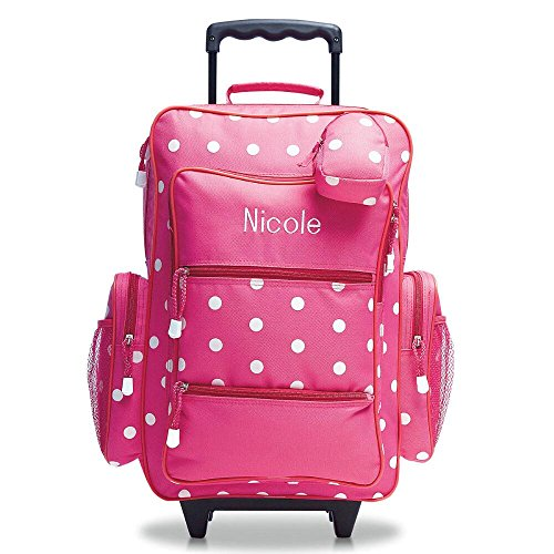 Pink Polka Dot Personalized Kids Rolling Luggage By