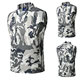 HTHJSCO Men's Sleeveless Zip up Vest, Camouflage Summer Casual Slim Sleeveless T Shirt Tank Top Vest Blouse (Gray, XL)