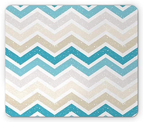 Aqua Mouse Pad, Grunge Abstract Zig Zag Borders Chevron Geometrical Details Gaming Mousepad Office Mouse Mat Beige Cocoa Pink Turquoise and Blue ()