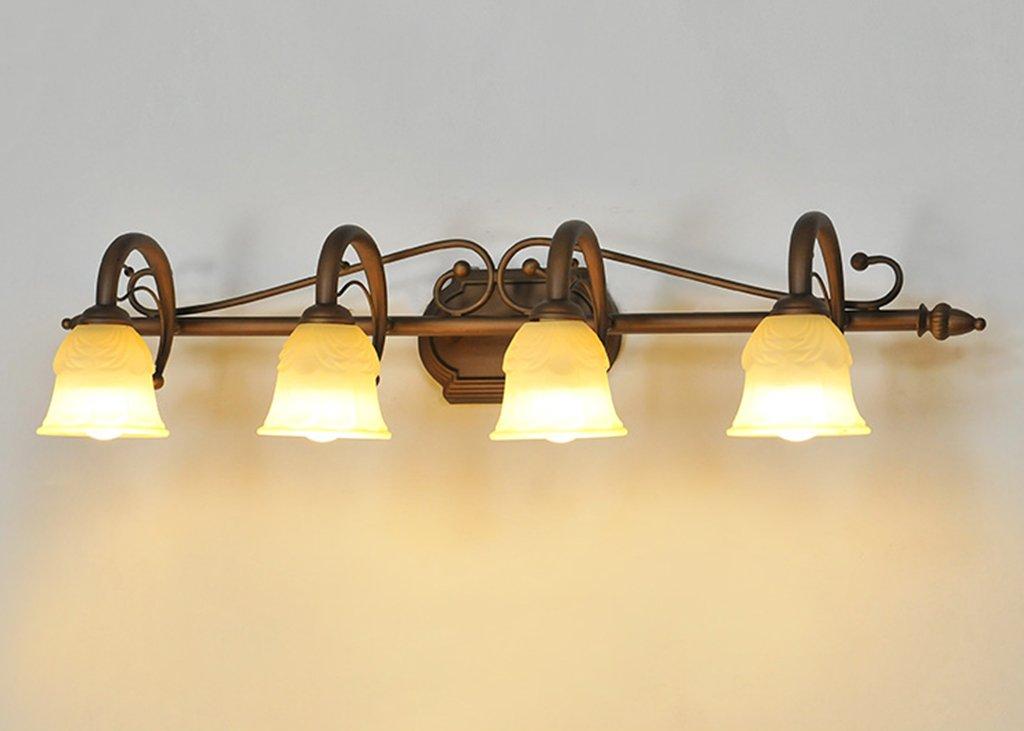 Lanna shop-シンプルミラーフロントLED暖かいホワイトライトDresser make-up照明ランプバスルーム壁ミラーヘッドライト 4 lights B073Y7HRHH