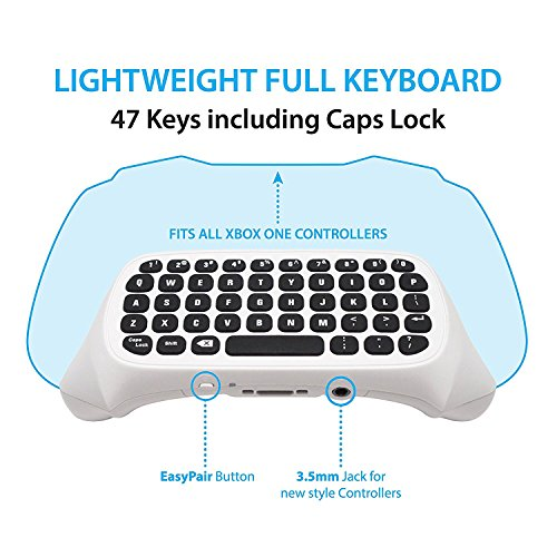 Wireless Keyboard ChatPad for Microsoft Xbox One Controller Keyboard White
