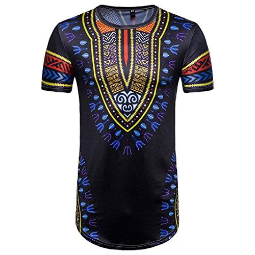 Bluestercool Hommes Été Casual Africain Imprimé Col Rond Manches Courtes T-shirt Top 03