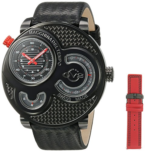 Gevril GV2 8302 Macchina Del Tempo, IP Black Case, Black Dial, Black Fiber Band, Red & Black Stitch, Men's