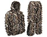 Hec Suit Best Deals - North Mountain Gear Camouflage Premium Guide Series 3D Hunting Leafy Ghillie Suit JACKET Full Front Zipper Hood Front Zip Pockets Pants With Zipper Pockets And Knee Length Zippers (Brown, X-Large)