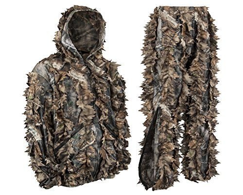 Guide Series Mens Camouflage Premium 3D Camo Hunting Leafy Ghillie Suit JACKET Full Front Zipper Hood Front Zip Pockets Pants With Zipper Pockets And Knee Length Zippers (Brown, X-Large)