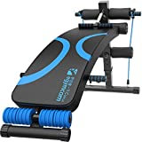 egymcom Adjustable Sit up Decline Bench, Sit-up Abdominal Slant Board Excise Weigh Bench with Spring Expander For Home Fitness Gym