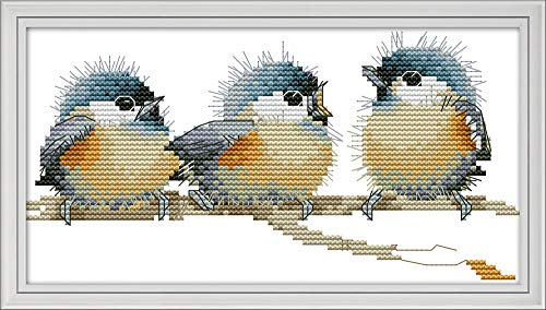 Cross Stitch Kits, Three Birds Awesocrafts Easy Patterns Cross Stitching Embroidery Kit Supplies Christmas Gifts, Stamped or Counted (Birds, Counted) (Counted Stitch Kits Birds Cross)