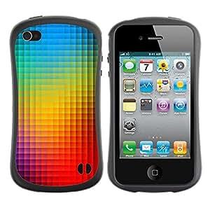 LASTONE PHONE CASE / Suave Silicona Caso Carcasa de Caucho Funda para Apple Iphone 4 / 4S / Rainbow Pattern Vibrant Blue