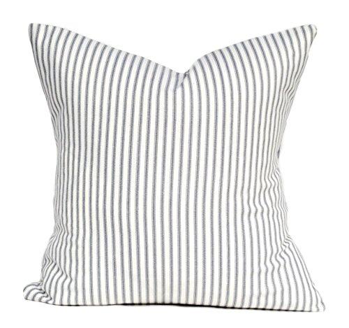 That Dutch Girl One Magnolia pillow cover, Slate grey pillow, cushion, decorative throw pillow, decorative pillow, Charcoal grey Pillow, Striped Pillow - Decorative Slate